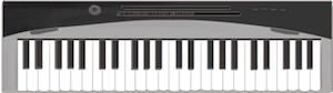 Hand-drawn illustration of an electronic keyboard viewed from the top