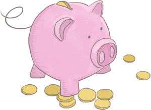 Hand-drawn piggy bank