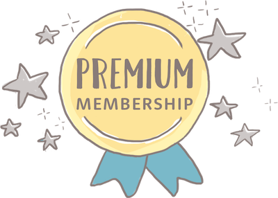 Hand-drawn illustration of a medallion which says 'Premium Subscription'